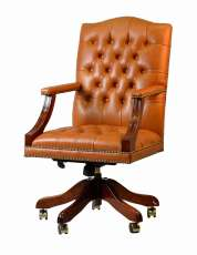 Chesterfield Bürostuhl Edward Polsterung light brown