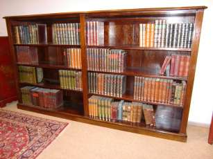Viktorianisches Bücherregal Mahagoni Victorian low double open bookcase